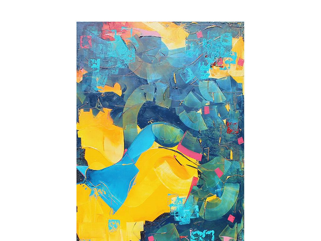 简约画壁画酒店装饰画沙发背景现代装饰画抽象画水彩画色块手绘