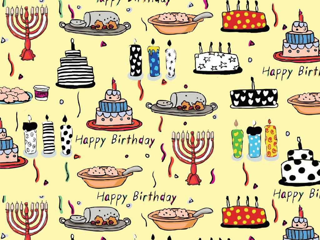 手绘生日快乐包装纸卡片素材