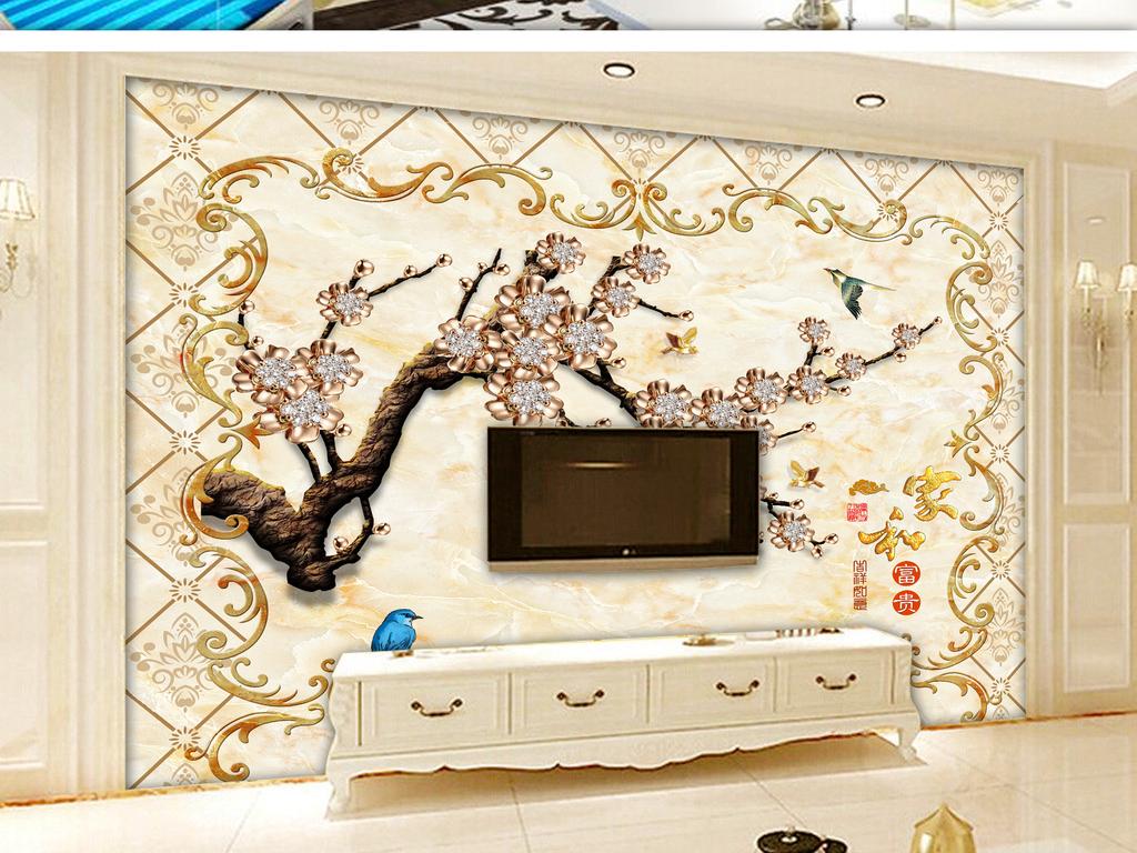 欧式花纹珠宝家和富贵树枝电视背景墙(图片编号:)_墙