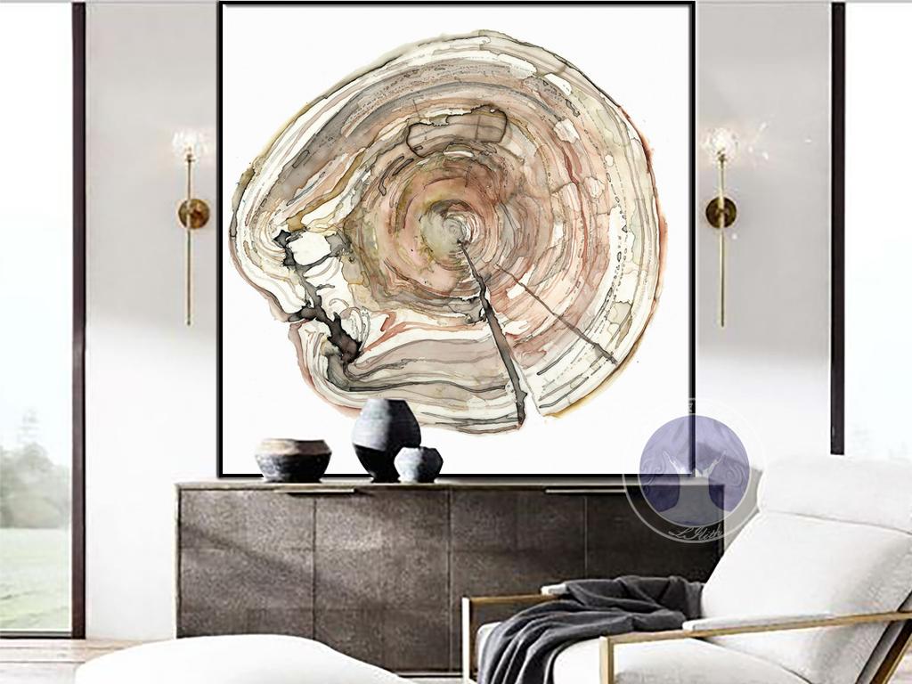 北欧风格手绘彩色意境年轮装饰画无框画