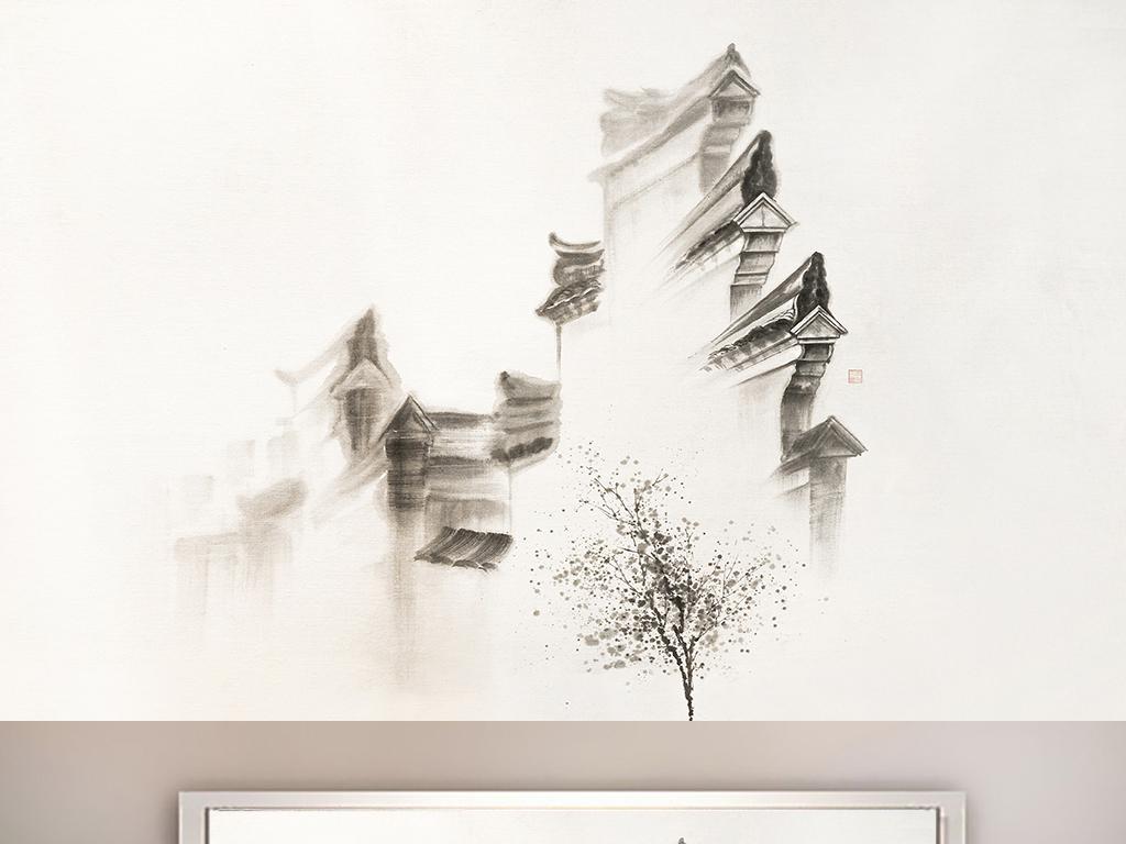 江南建筑画无框画