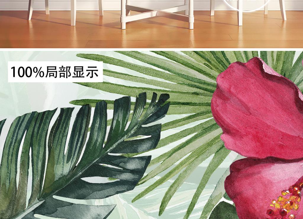 手绘北欧简约田园风情雨林芭蕉壁画背景墙