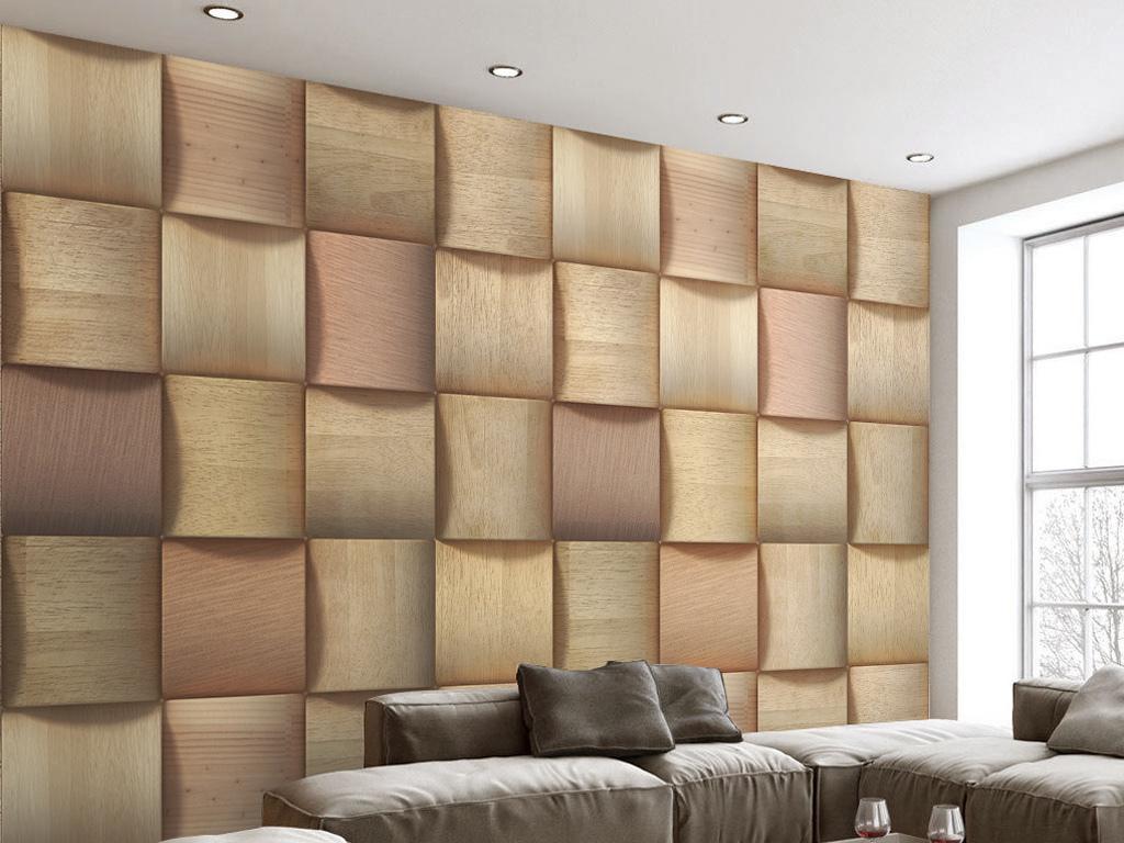 3d立体仿真木头纹理软包电视背景墙