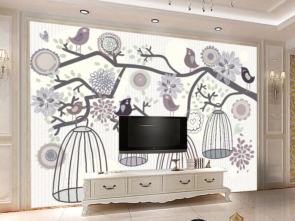 手绘插画树林创意背景墙创意小清新树木欧式背景电视背景欧式花鸟电视
