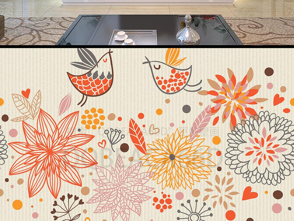 现代简约小清新手绘花鸟插画欧式电视背景墙