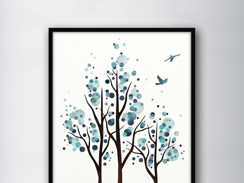 飞鸟树林北欧抽象现代欧式小清新家居装饰画(图片编号图片