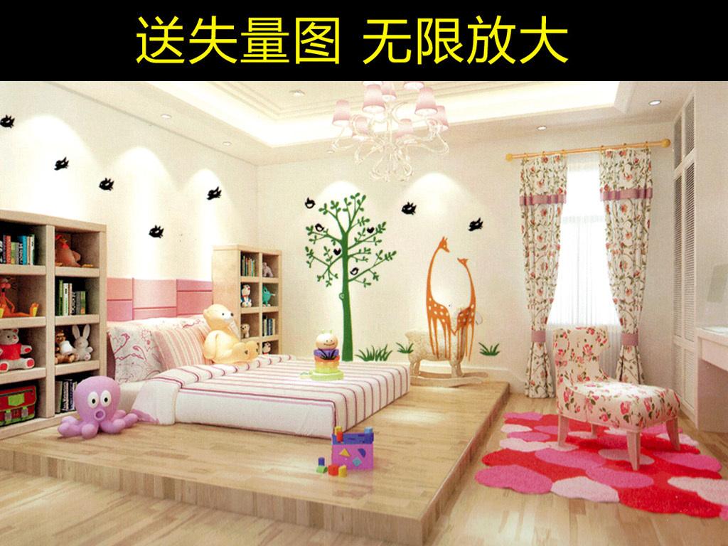 唯美简约儿童房间墙贴背景墙可爱动物树木