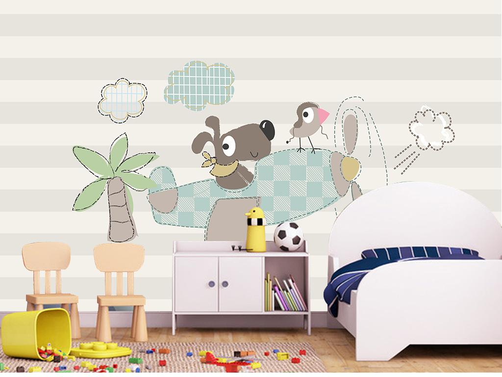 手绘可爱卡通小鸟小狗麻雀椰树儿童房卧室儿童房背景卧室背景儿童背景