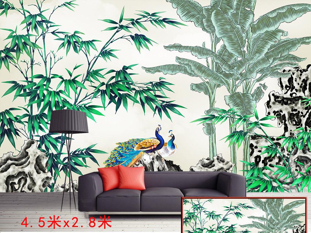 手绘新中式工笔芭蕉树竹鸟背景墙装饰画