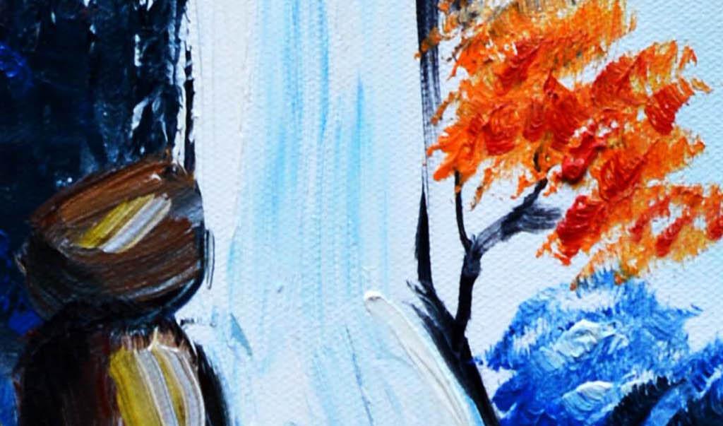 抽象手绘山水画艺术玄关