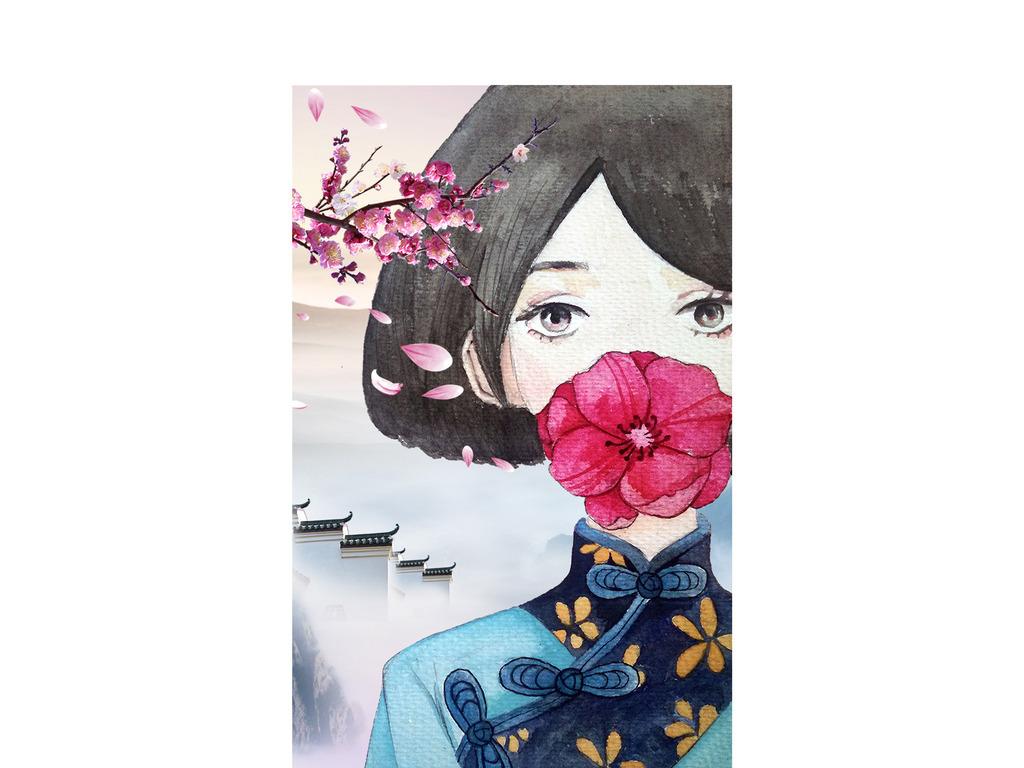 唯美水彩中国风女孩手机壳