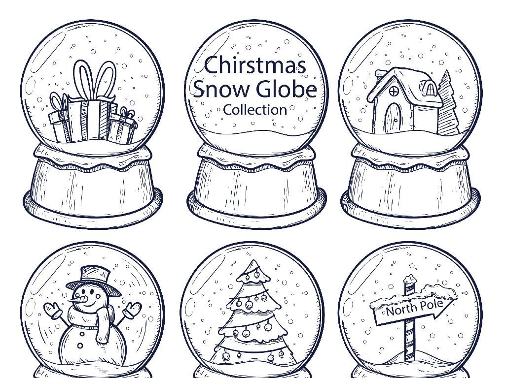 手绘黑白卡通圣诞节水晶球矢量图