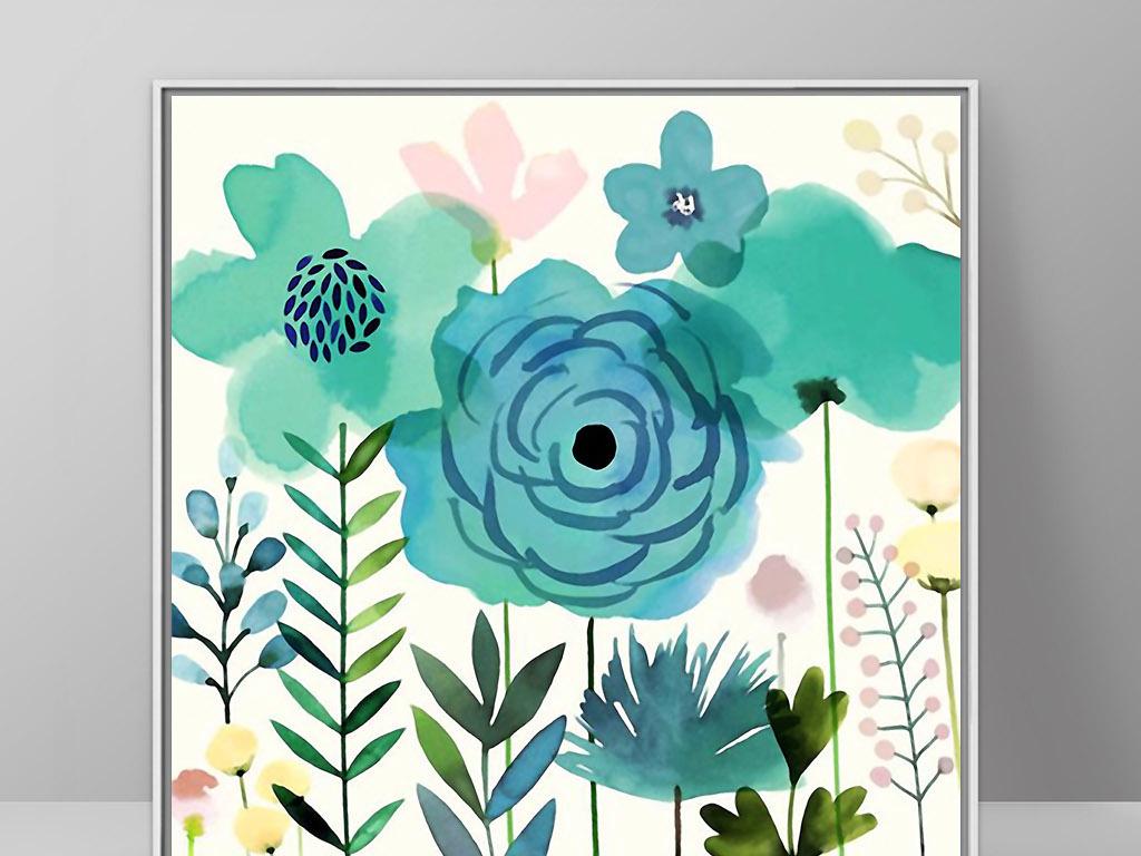 手绘水彩花卉欧式现代北欧小清新简约装饰画