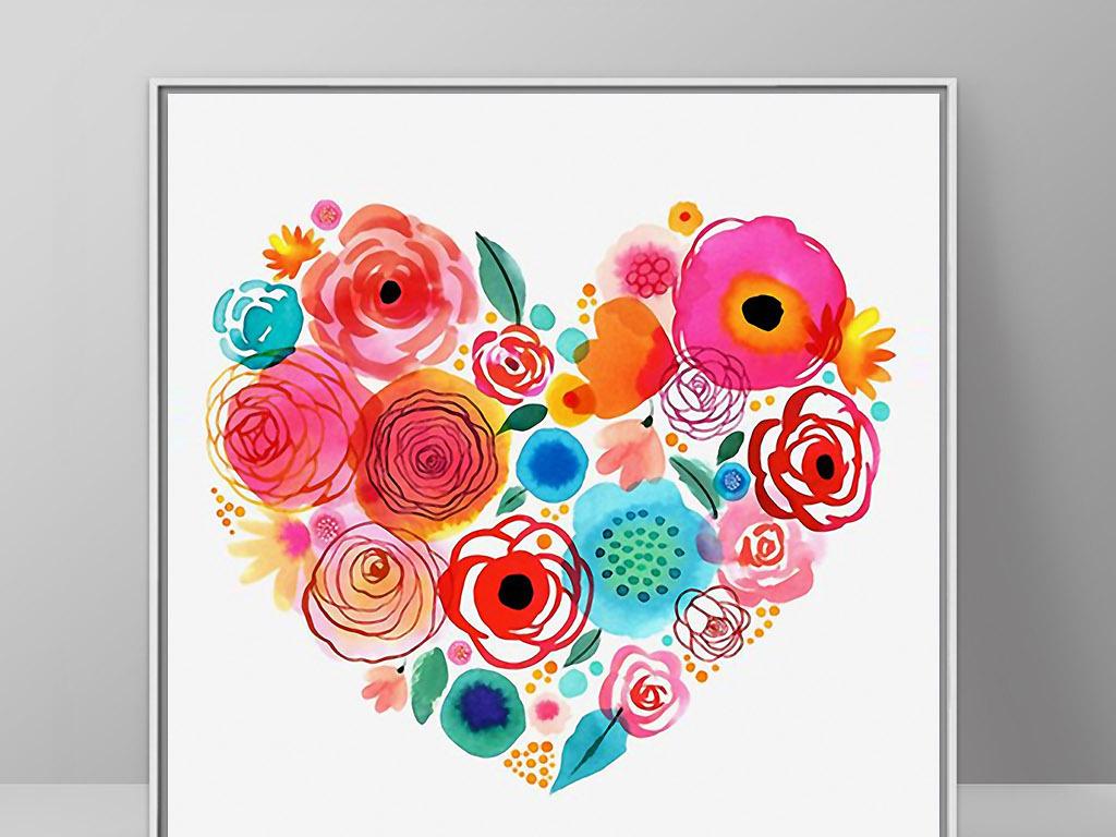 心形花卉花环北欧小清新简约欧式家居装饰画