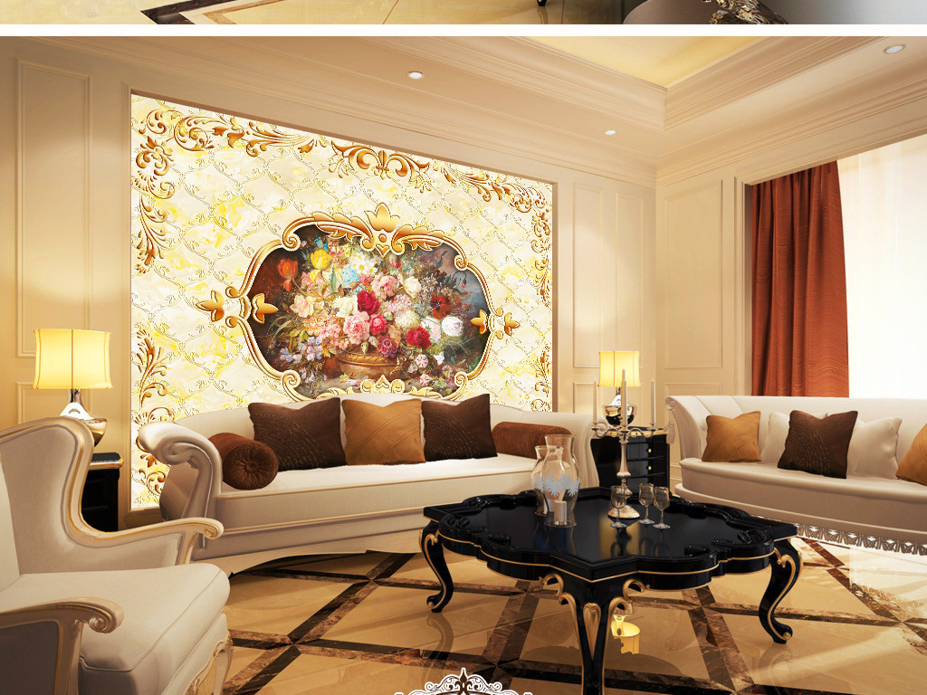 我图网提供精品流行欧式富贵花卉大理石背景墙