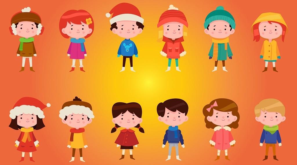 卡通冬季服装儿童矢量图