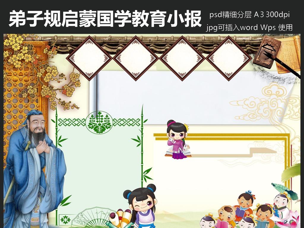 卷轴中国风素材手抄报小报边框古典边框孔子大典国学