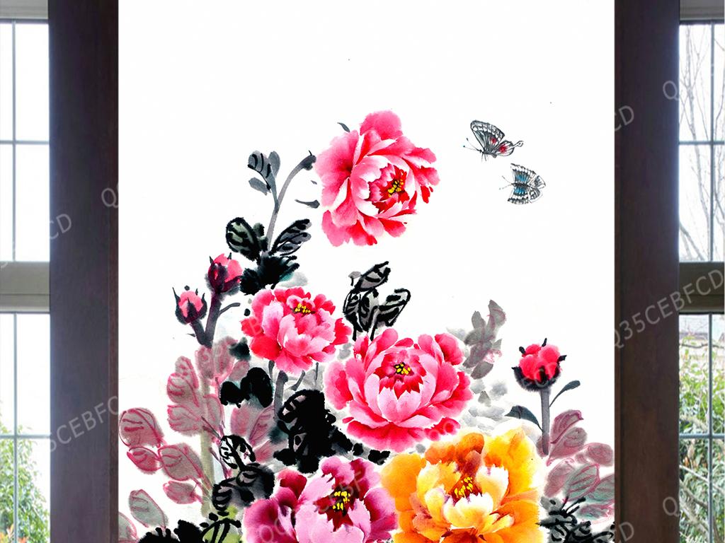 水墨画工笔牡丹鸟语花香富贵牡丹电视背景墙图片玻璃电视背景墙图片客图片