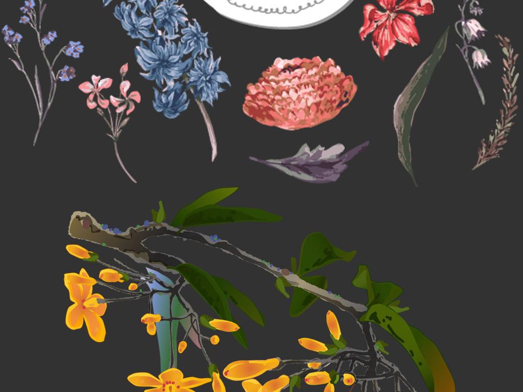 手绘花朵水彩花朵彩绘花朵素材分层模板