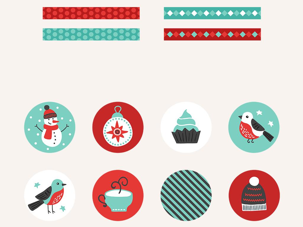 创意圣诞节礼物标签装饰元素集合图片