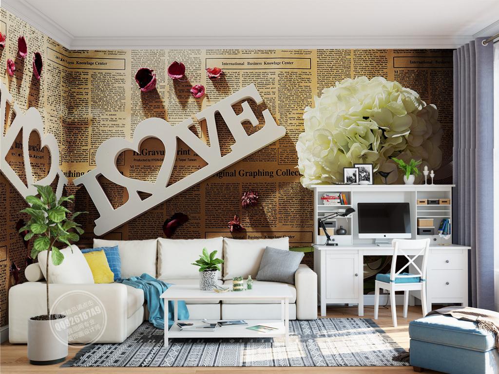 欧式手绘怀旧复古浪漫背景墙壁画