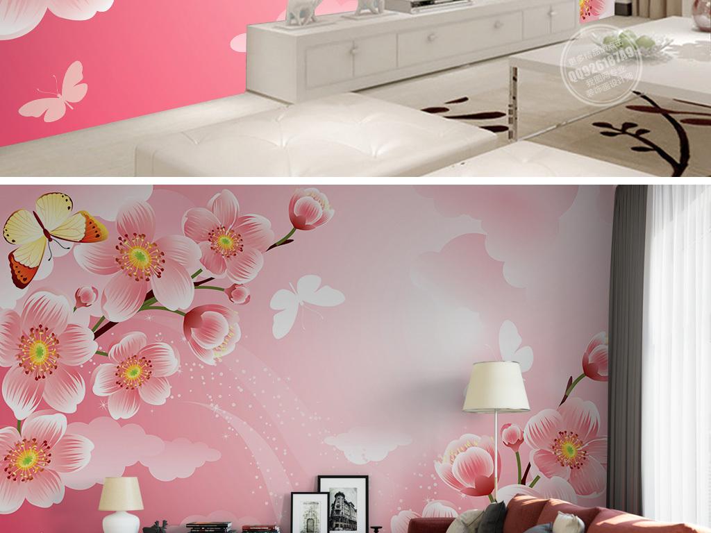 画墙纸墙体手绘梦幻背景梦幻图片樱花蝴蝶手绘背景