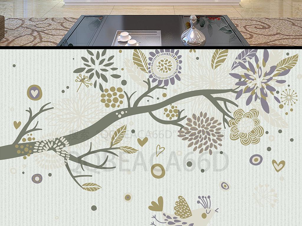 现代简约小清新手绘树木花朵欧式电视背景墙