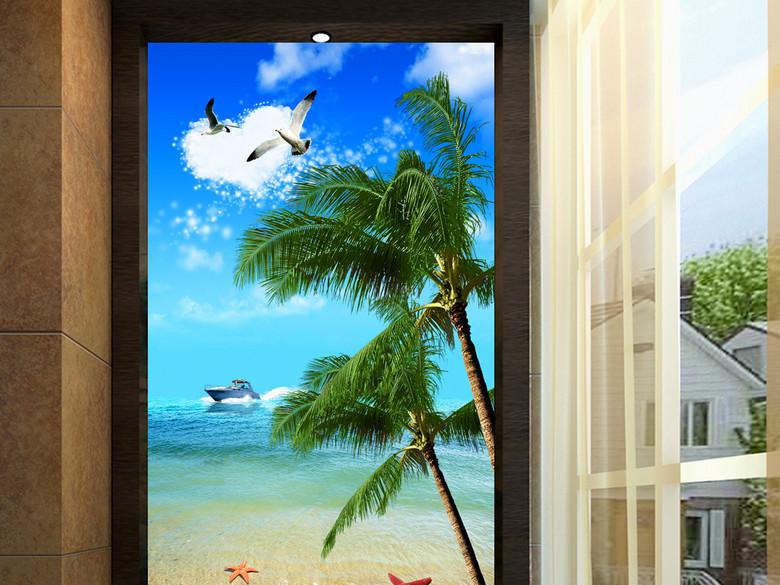 美景海滩椰子树玄关背景墙装饰画
