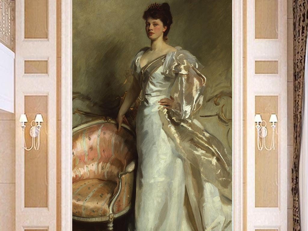 油画人物高贵女玄关