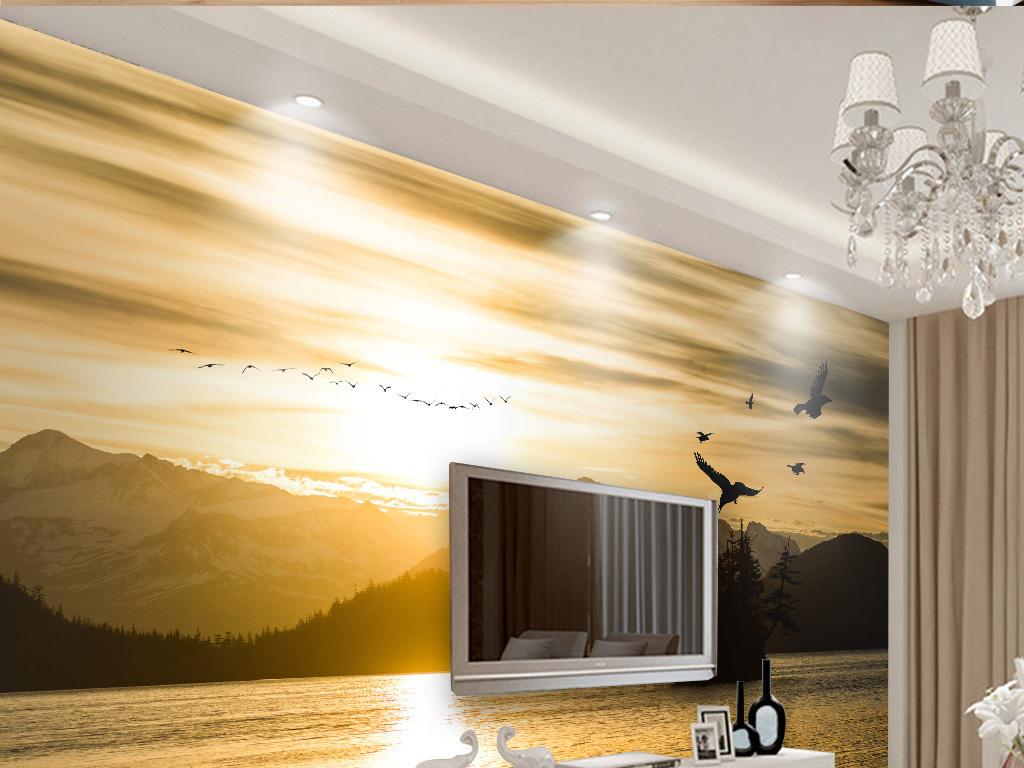 电视背景墙 > 唯美金色山水风景背景墙壁画
