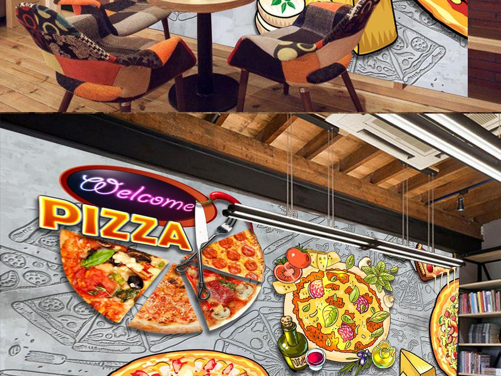 美食我爱披萨手绘必胜客食物意大利披萨复古背景涂鸦披萨涂鸦背景工装