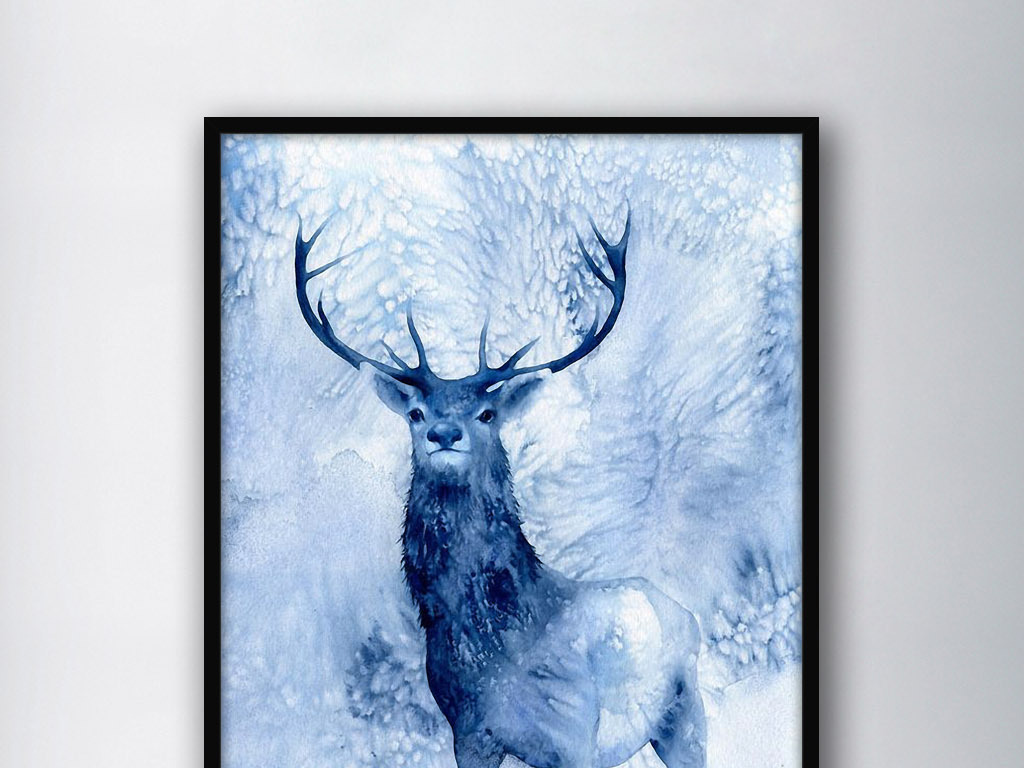手绘水彩小鹿鹿图片卡通鹿圣诞鹿鹿头雅鹿卡通小鹿