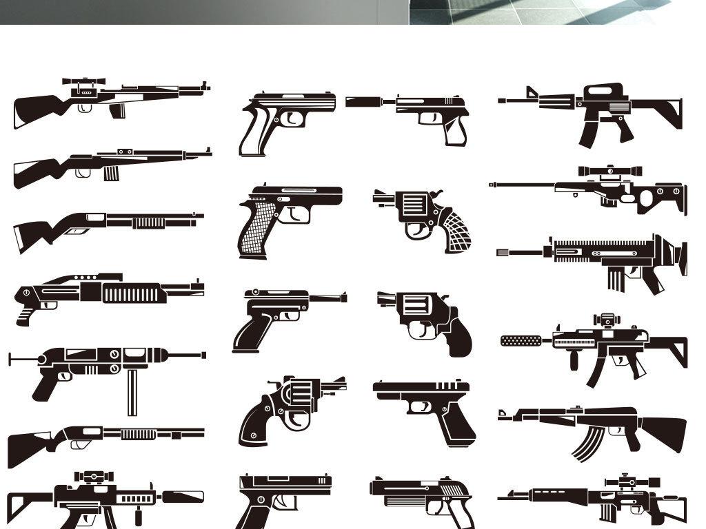 手绘黑白武器手枪支图片矢量素材