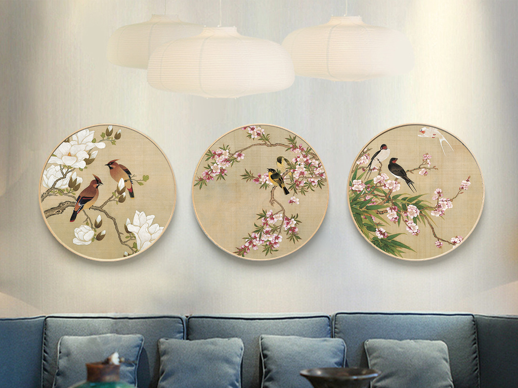 现代新中式实木正圆形花鸟水墨画国画玄关装饰画图片