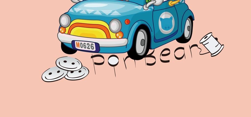 人物卡通图案插画装饰画插画汽车