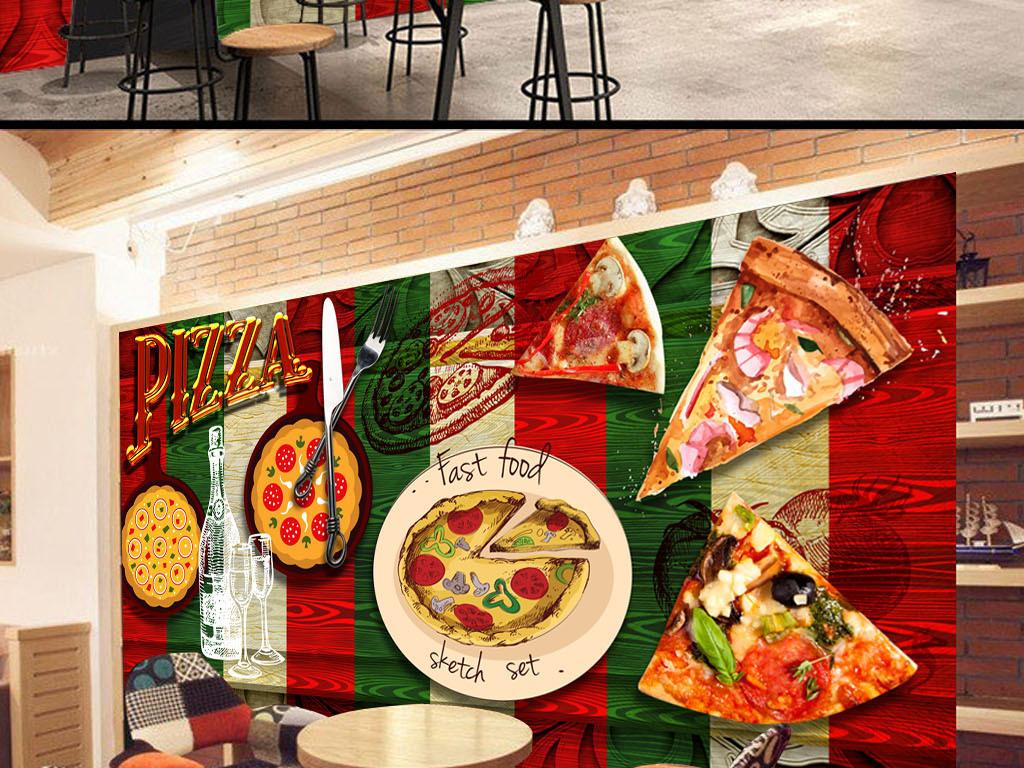 涂鸦披萨手绘背景高清西餐厅背景高清背景餐厅背景墙壁墙壁背景原创