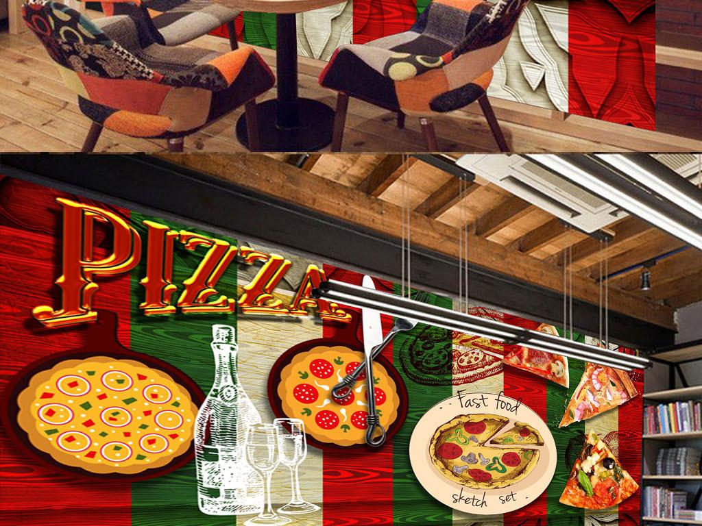 美食我爱披萨手绘必胜客食物意大利披萨复古背景涂鸦披萨手绘背景高清