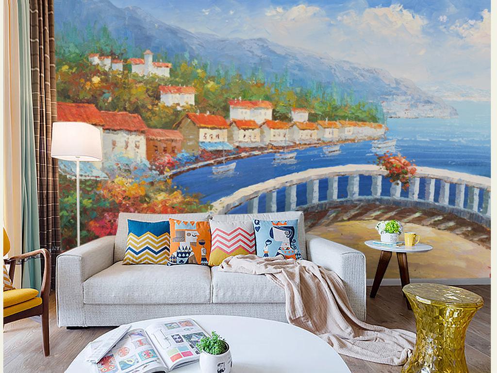 手绘立体油画复古怀旧原创风景风格地中海海景高清高清背景巨幅阳台地
