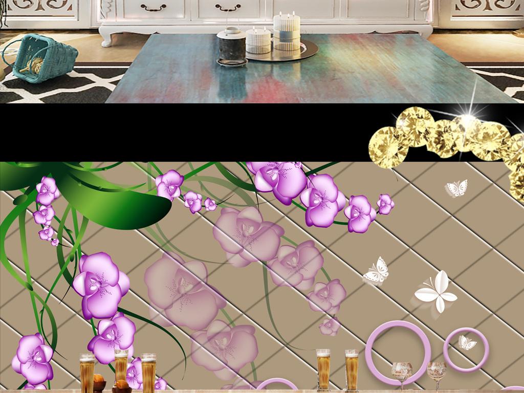软包蝴蝶兰手绘花卉简约电视背景墙