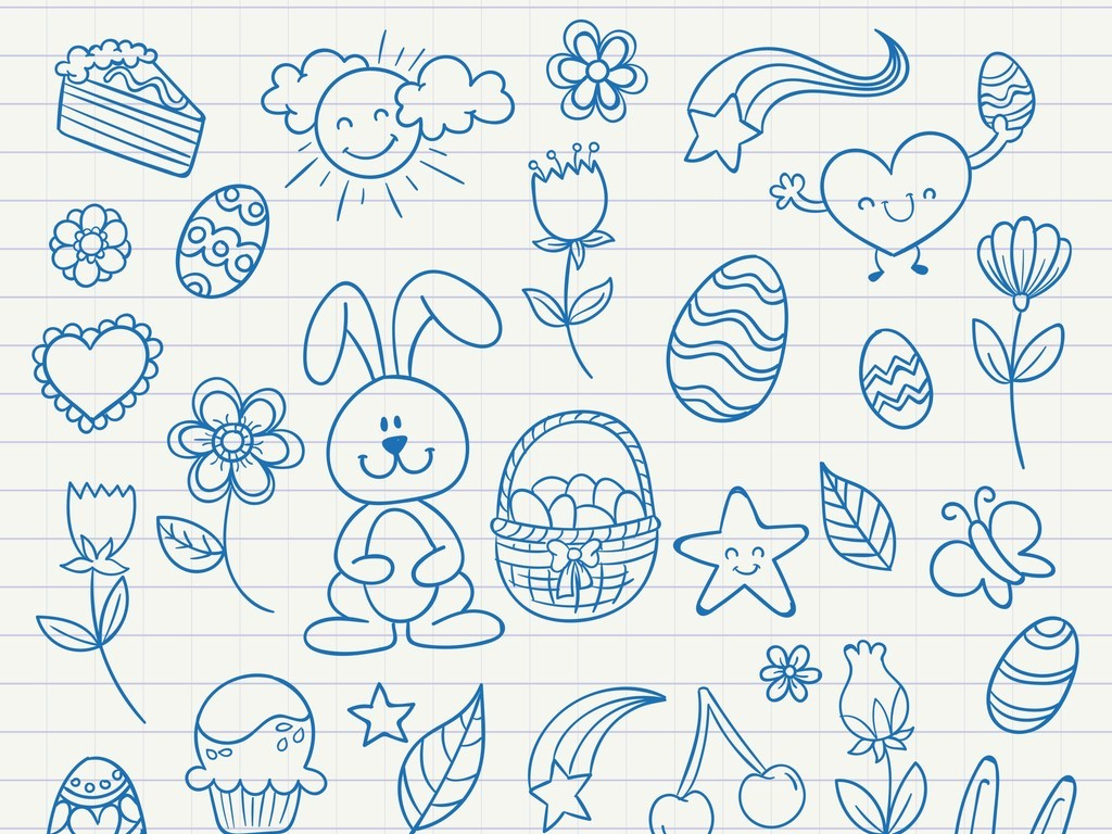 卡通动物植物花卉星星彩虹太阳云朵