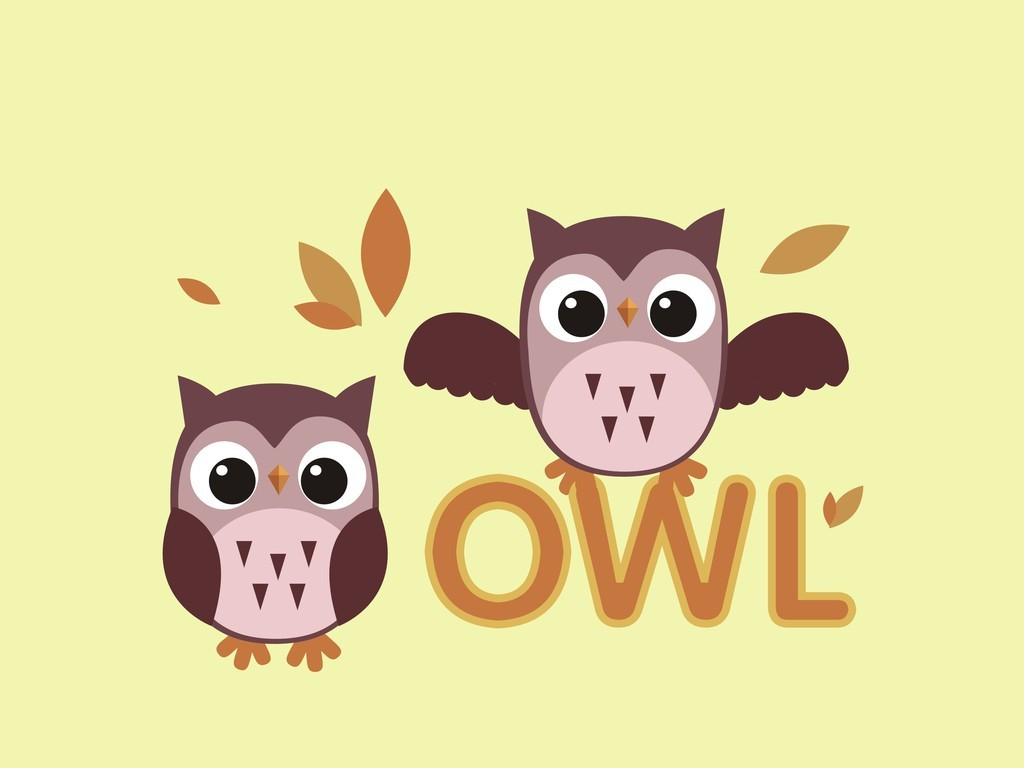 猫头鹰卡通图案装饰插画飞禽