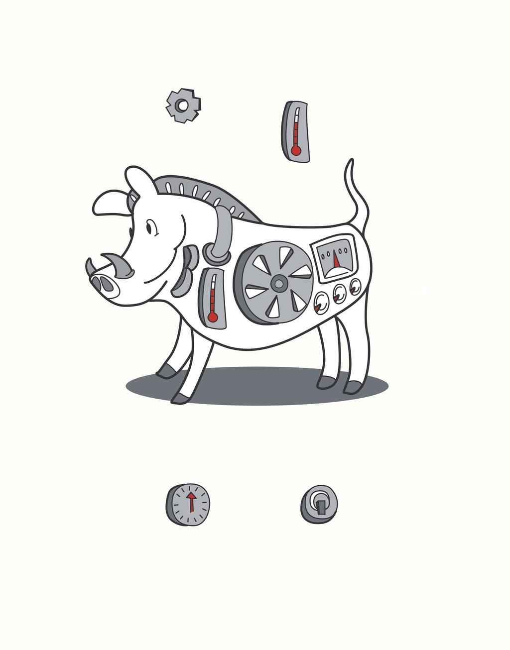 卡通动物简笔画手绘稿马