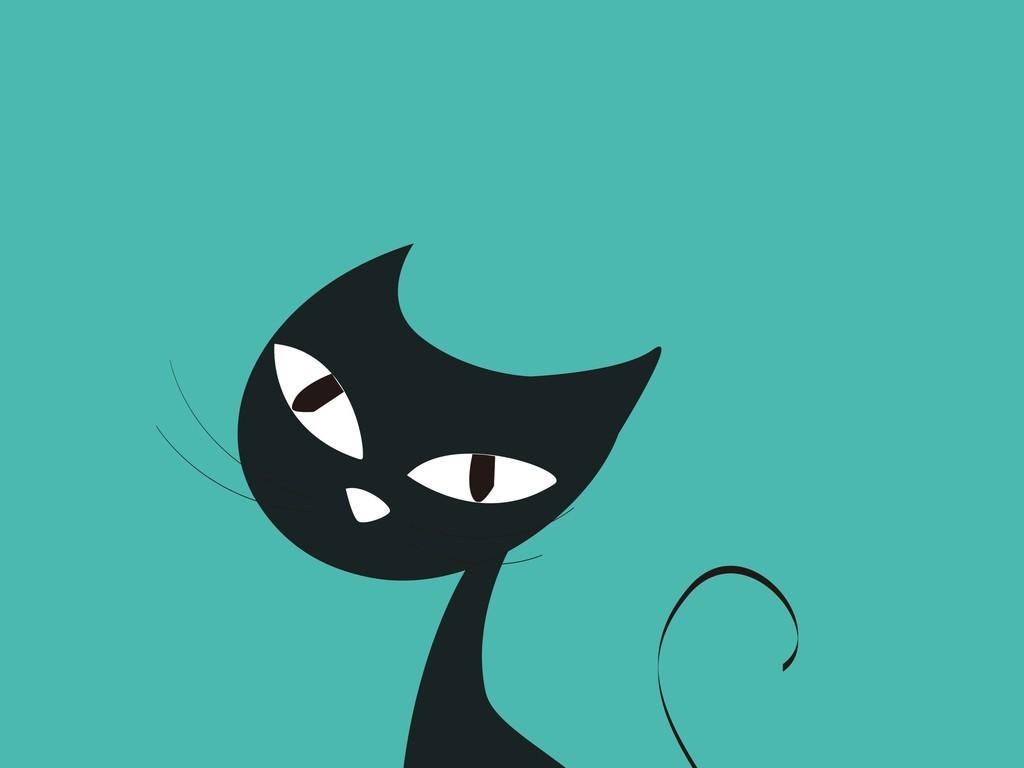 卡通动物猫咪黑白简笔画