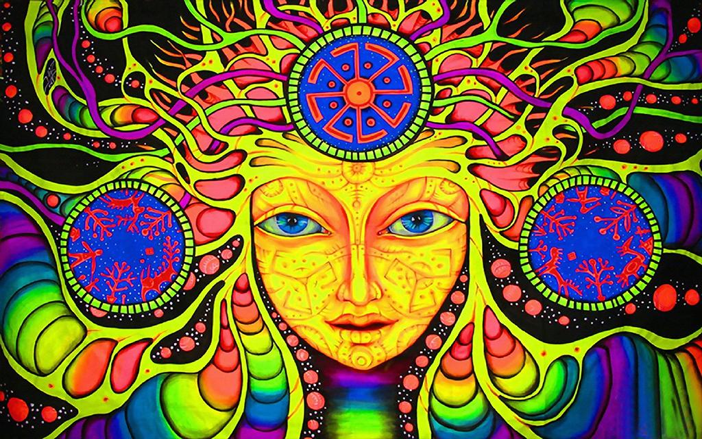 手绘彩色佛教圣母