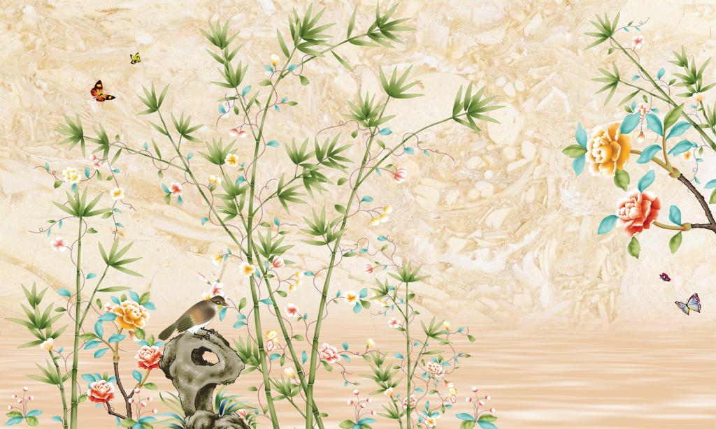 高清大型壁画手绘花鸟图片图片
