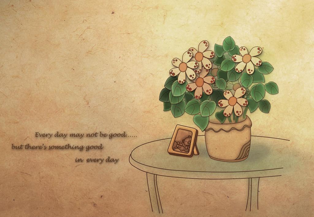 手绘花盆桌子相册英文字母背景墙