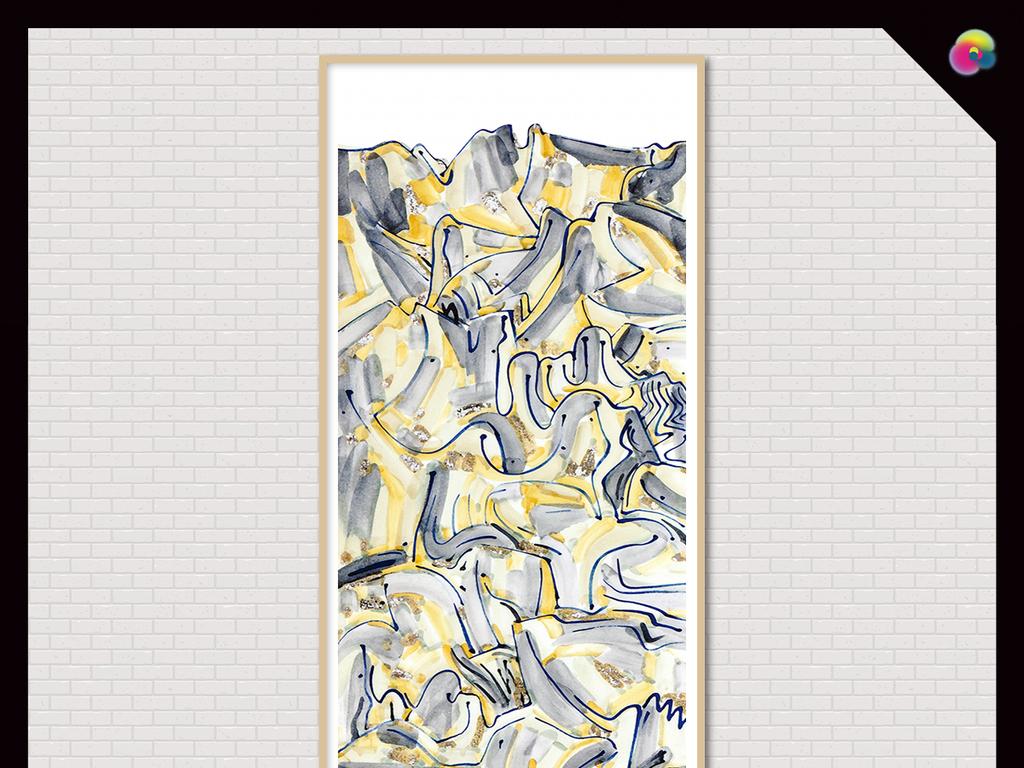 新中式写意抽象山水高清油画装饰画图片