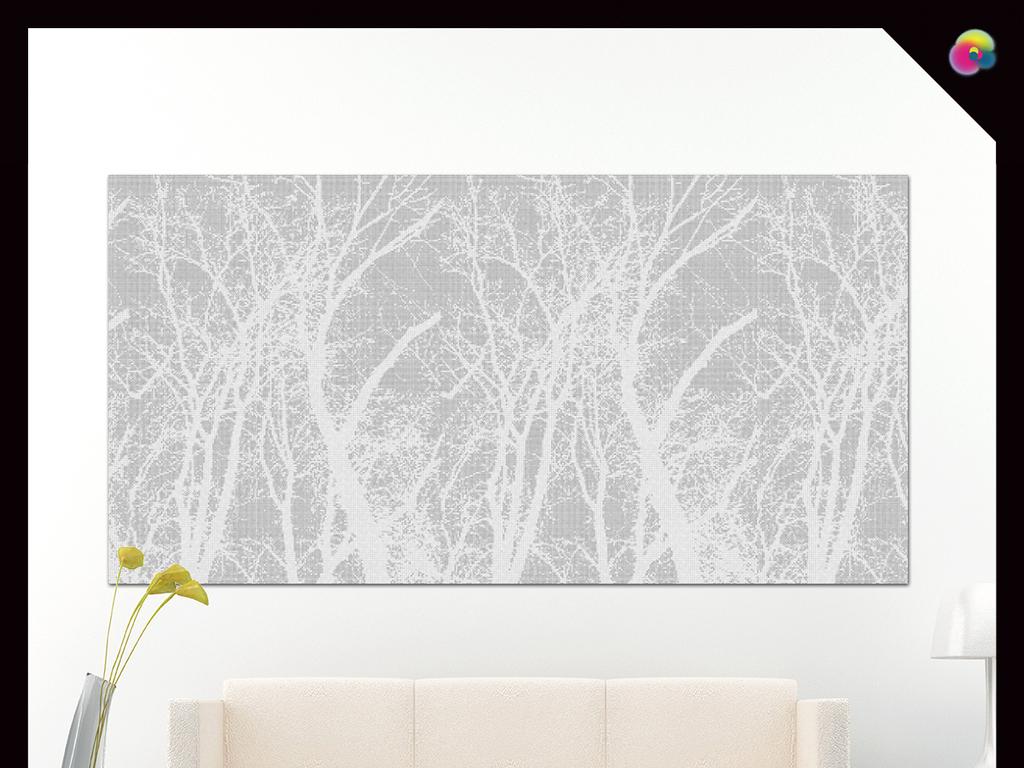 无框画 抽象图案无框画 > 手绘现代简约黑白北欧素雅背景墙装饰画