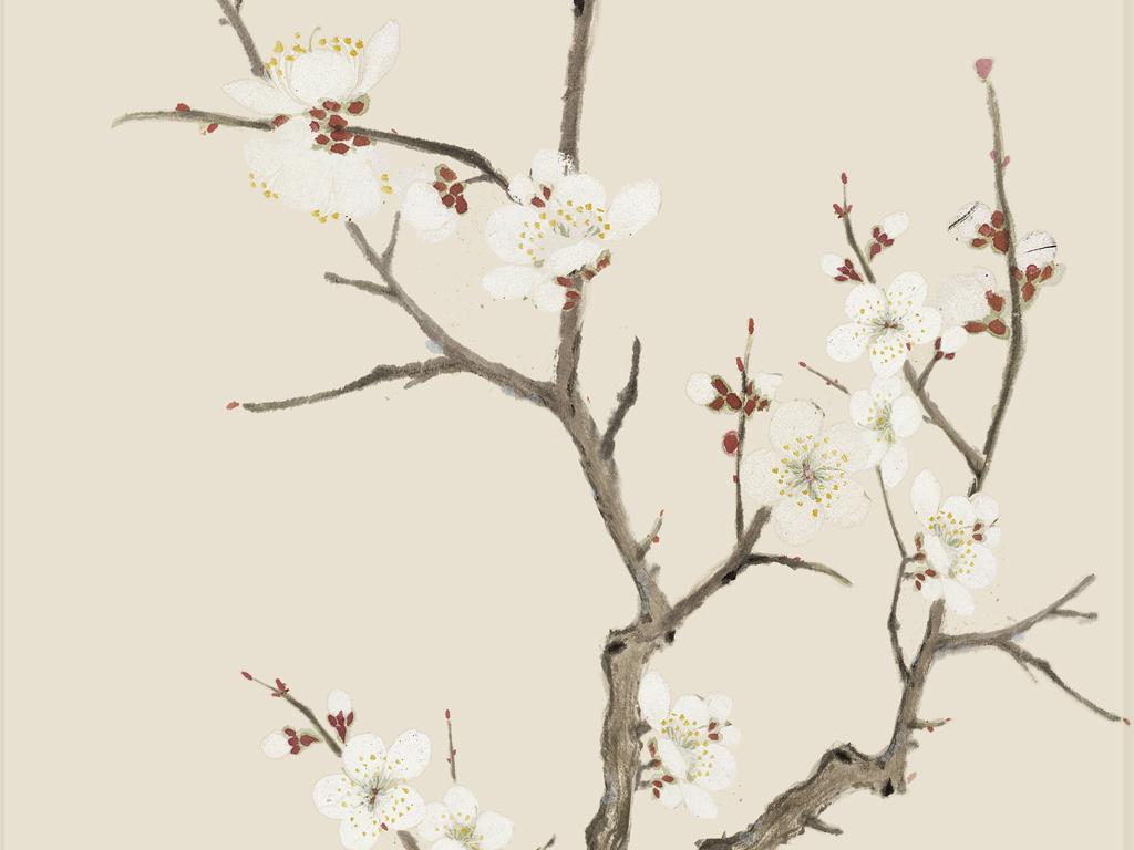白梅花玄关中式无框画手绘花鸟工笔梅花中式 位图, cmyk格式高清大图