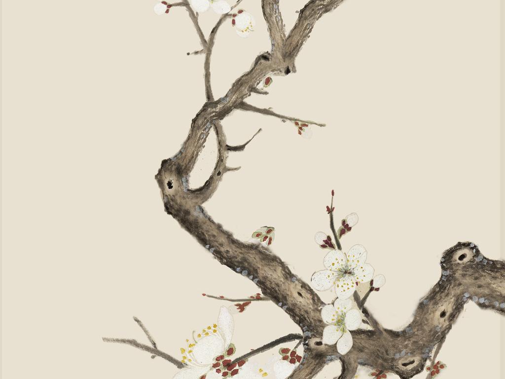 白梅花玄关中式无框画手绘花鸟工笔梅花中式